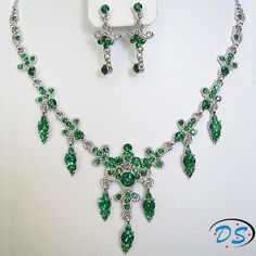 2012 New style Emerald Green Crystal Necklace jewelry Set