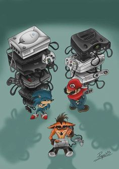 Console wars never dies, Crash. It's just speed burned in history. Vintage Video Games, Retro Video Games, Video Game Art, Crash Bandicoot Characters, Deco Gamer, Gamers Anime, Nintendo Switch Games, Gaming Wallpapers, Gaming Memes