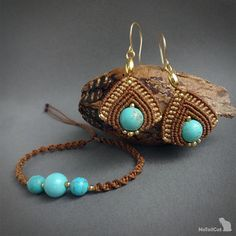 Handwoven macrame earrings made with 925 sterling silver 24K gold plated beads, 24K gold plated wire, turquoise beads 10 mm and linhasita thread - marron colour. For a perfect set you can find bracelet in these colors as well: