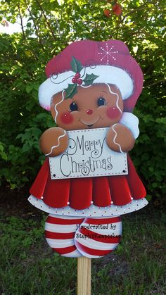 hand painted wooden gingerbread garden yard stake welcome sign wall hanging