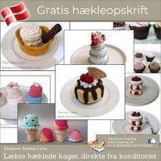 Lækre hæklede kager, direkte fra konditoriet Crochet Cake, Crochet Toys, Knit Crochet, Play Food, Crochet Animals, Mini Cupcakes, Donuts, Desserts, Crafts