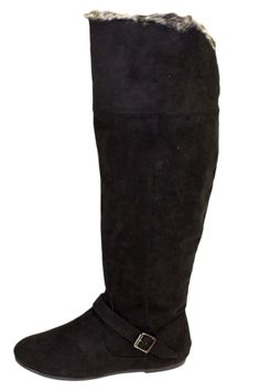 Black Faux Suede Over The Knee Boots With Faux Fur Trim