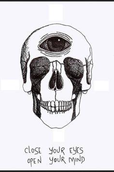 close your eyes, open your mind skull tshirt -- cotton Psychedelic Art, Inspiration Art, Art Inspo, Totenkopf Tattoos, Psy Art, Close Your Eyes, Skull And Bones, Skull Art, Dark Art