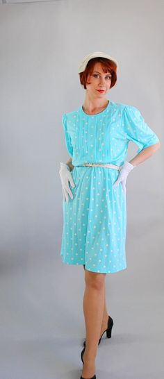 Sale   1970s Pastel Blue Polka Dots Dress Day Dress par gogovintage, $29.00