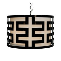 "BLACK LACQUER GREEK KEY PENDANT WITH INTERIOR SHADE. Color: black Hardwire only Dimensions: 15""H X 24""DIA Please allow 2-3 weeks 3' chain and canopy 60 watt max"