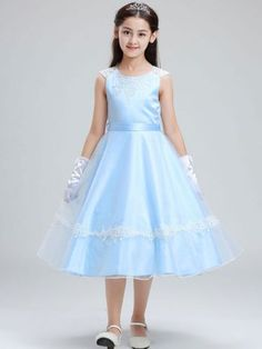 Bow Sashes Lace Contrast Applique Round Collar Sleeveless Mid Dress Just Shop, Girls Dresses, Formal Dresses, Round Collar, Sash, Frocks, Baby Dress, Contrast, Kids Fashion