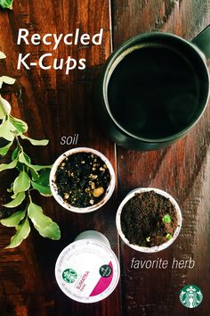 How to make a K-Cup herb garden: Remove the lids from your used K-Cup pods and discard. Scoop out the used coffee grounds and set aside. Poke 2-3 drainage holes in the bottom of each pods. Mix some of the used coffee grounds with potting soil and fill the pods with the mixture. Plant the seeds and place pods on a shallow or plate tray to catch water drainage.