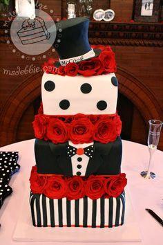 Tuxedo-Themed Wedding Cake (good idea for groom's cake) Wedding Cake Red, Themed Wedding Cakes, Wedding Cakes With Cupcakes, Cupcake Cakes, Wedding Desserts, Fondant Cakes, Gorgeous Cakes, Pretty Cakes, Amazing Cakes