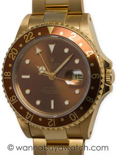 Rolex 18K YG GMT ref 16718 circa 1987 - Rolex 18K YG GMT ref 16718 serial # R circa 1987. 40 mm diameter case with sapphire crystal and beautiful condition root beer color dial with warmly patina'd tritium indexes, and matching patina'd hands. With honey golden 24 hour bezel bi-directional. With 18K YG Jubilee bracelet with hidden clasp Jubilee bracelet.