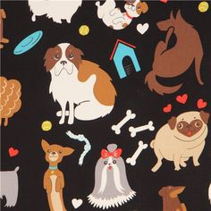 black Alexander Henry dog animal fabric  2