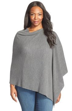 Eileen Fisher Drape Neck Merino Wool Poncho (Plus Size)