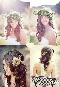 wedding hairstyle with natural flower and wavy human clip on hair extension