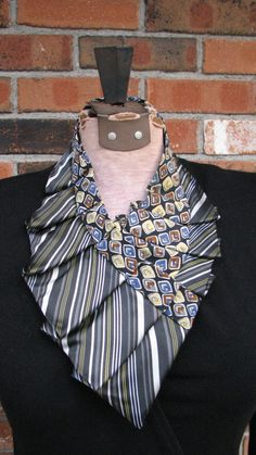 Decadent Stripes.  Silk Necktie Accessories / Collars are handmade by me.  One of my favorite ones - I also hand stitched vintage beaded trim . Perfect combination!  I make those unique, one of a kind Necklaces from mens silk neckties. Neckties are chosen very carefully by color and pattern to create the best Tandem and complement each other. As a result I can guarantee - there will be no two necklaces alike . Each one is one of a kind.  The necklaces are very easy to wear. Two snaps hold…