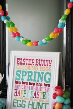 check out the garland made from those plastic eggs those of us with kids always have too many of.