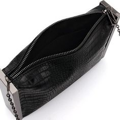 25eeb43903c Fantastic Black Snake Effect Clutch Bag with Silver-tone Hardware -  US 25.95 -YOINS