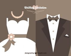 Wedding invitation card with dress vector free Wedding Invitation Card Design, Creative Wedding Invitations, Wedding Card Design, Wedding Cards, Wedding Background Images, Wedding Graphics, Free Wedding, Wedding Fair, Vector Design