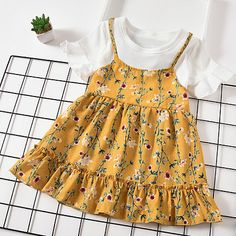 Floral Print Round Neck Fake Two-Piece Dress Girls Summer Outfits, Dresses Kids Girl, Outfits Niños, Kids Outfits, Toddler Dress, Toddler Outfits, Baby Girl Dress Patterns, Look Girl, Frocks For Girls