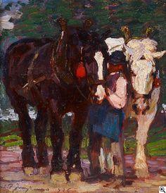 Julius Paul Junghanns: Bauer mit Pferden aus unserer Rubrik: Gemälde des 19. Jahrhunderts