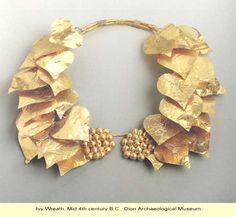 Ancient Greek golden ivy wreath, mid 4th c. BCE
