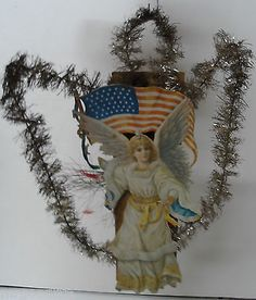 """8 1 2""""T Very Old Patriotic Angel Diecut with Tinsel 1800's Homemade   eBay"""