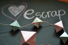 Tutorial de @madredemialma para @Boutique e-Scrap con los papeles de #triquiñuelas en formas geométricas y colores pastel.