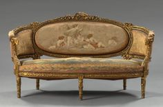 207: Louis XVI-Style Giltwood Settee, : Lot 207