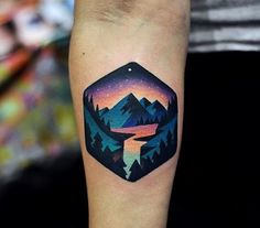 Ideas Of Cool Geometric Tattos Geometric Mountain Tattoo, Geometric Tattoo Nature, Geometric Tattoos Men, Tattoo Mountain, Geometric Sleeve, Geometric Tattoo Color, Colorful Mandala Tattoo, Body Art Tattoos, New Tattoos