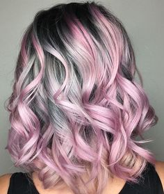 Pink and silver hair.