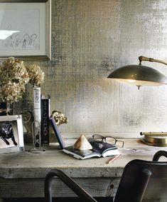 metallic grasscloth - Click image to find more Home Decor Pinterest pins