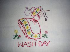 Wash Day Embroidered Dish Towel by PointedNeedle on Etsy