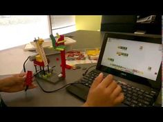 The Robot Giraffe moves its neck forward to eat leaves from the tree and backward, using the Tilt Sensor. Lego Wedo, Robotics