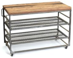 Eaton Industrial Reclaimed Wood Steel Mesh Rustic Console Table - traditional - buffets and sideboards - Kathy Kuo Home