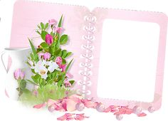 Transparent Frame Pink Book and Bouquet