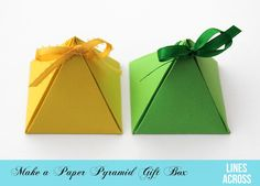 Lines Across: Paper Pyramid Gift Boxes --  complete tutorial along with link to other gift box shapes you can make.