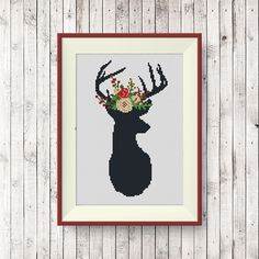 BUY 2, GET 1 FREE! Deer Floral Antlers Cross Stitch Pattern, pdf counted cross stitch pattern, Deer silhouette, Modern cross stitch, #P270 by NataliNeedlework on Etsy