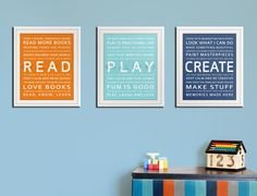 Read. Play. Create. So cute for the playroom!