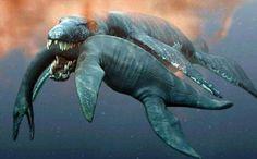oceangoing dinos -- mosasaur dining on elasmosaur