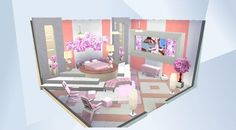 ¡Mira esta habitación en la galería de Los Sims 4! - If you use one of these paintings in your room                 PLEASE HASHTAG ME: #anfideya  and please  don't reupload these paintings. Thanks!!!                                                                                                           #paintings #art #pictures #paint #modern #circlebed #bedrom #sleep #awesome #cool #stylish #white #pink #flowers  #plants #fashion  #glamor #wow #painting #photo #family #noCC #moveobjects