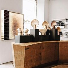 """valerianelazard""""Cast Impressions"""" by Henry Wilson at the Vincenzo de Cotiis designed Aesop store in Brera. Photographed by Felix Forest.  #salonedelmobile #aesop #henrywilson"""