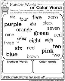 First Grade Worksheets for May - Number Words or Color Words Graph