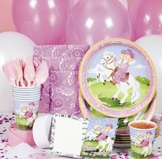 **Pink Cowgirl Tableware/Invites (40pcs)** :   They're a real timesaver and make after-party cleanup a breeze!  Includes 8 invitations with envelopes, eight 23cm plates, eight 250ml cups and 16 luncheon napkins. (40 pcs. per set)