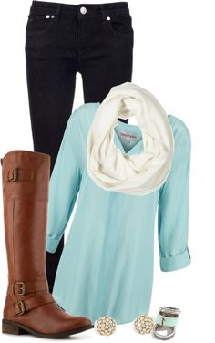Black jeans, white scarf, blue shirt, long neck boots, ear tops and ear rings...