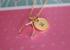 Sentimental idea for bridesmaids gifts. personalized wishbone necklace gold wishbone by bluegrassloft, $26.00
