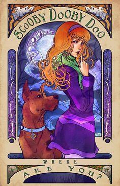 Daphne de Scooby Doo en el estilo de Alfonse Mucha • Buy this artwork on phone…