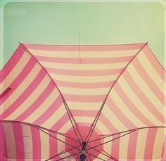Pink and White Umbrella
