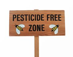 PESTICIDE FREE ZONE Garden Sign Hand Routed Cedar by TheCommonSign, $26.00. -- I need this for our yard! People need to know that Roundup and Scotts are ruining the ecosystem and our world's food supply!