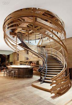Hotel staircase, Hotel Les Haras, Strasbourg; Jouin-Manku