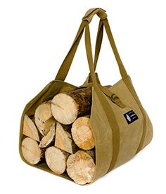 e0cedd8c3e85ef MyHomeIdeas Waxed Canvas Firewood Log Carrier Universal 16oz Canvas Tote Bag  Rack Holder with Padded Velcro Strap Easy Grip and Strap Belt Dust-Proof ...
