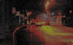 """Clive McCarthy. Division Night, 2015 Electric painting 25.5 x 40"""" Retail Price: $8,000 Courtesy of the Artist  Artist Website"""