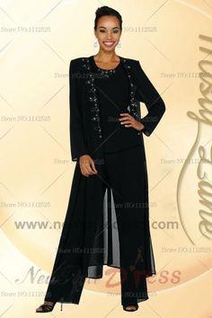 Black Elastic pants Elegant Cheap Mother of the bride Garments nmo-122